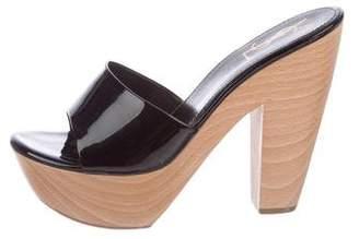 Saint Laurent Patent Leather Slide Sandals