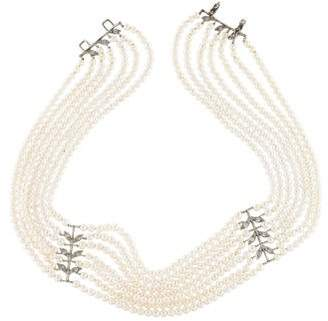 Cathy Waterman Platinum Pearl & Diamond Multistrand Choker