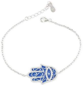 "Marquis Jewelry Womens Solid 925 Sterling Silver CZ Blue Hamsa RH 7"" Chain Bracelet 7"