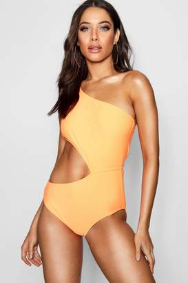 boohoo One Shoulder Cut Out Swimsuit