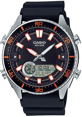 Casio Men's 'Ana-Digi' Quartz Metal and Resin Casual Watch, Color: Black (Model: AMW720-1AV)