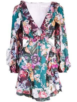 Zimmermann Allia V Neck Floral Ruffle Mini Dress