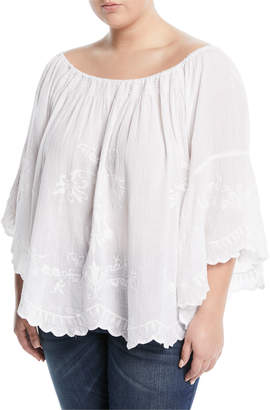Neiman Marcus Plus Embroidered Off-The-Shoulder Blouse, Plus Size