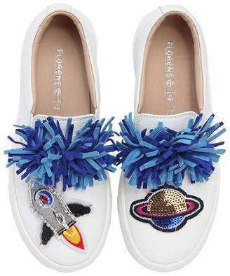 Embellished Leather Slip-On Sneakers
