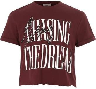 River Island Girls dark red 'the dream' cropped T-shirt