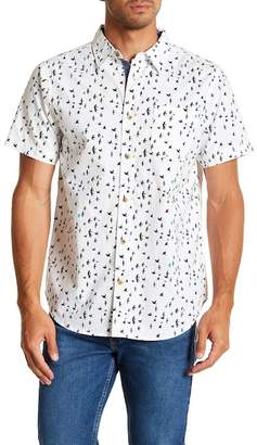 Straight Faded Bird Short Sleeve Modern Fit Shirt