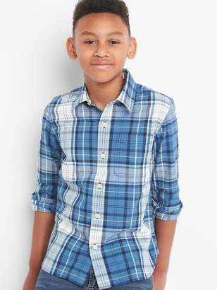Gap Plaid poplin long sleeve shirt