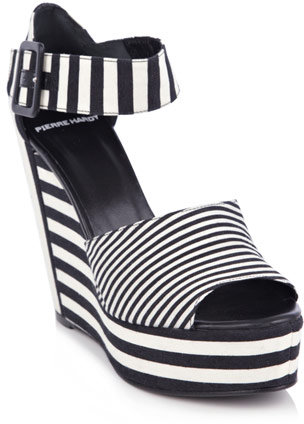 Pierre Hardy Canvas-stripe wedge shoes