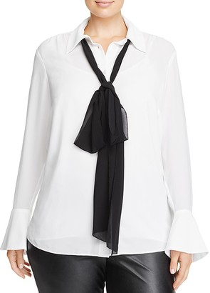 MICHAEL Michael Kors Plus Neck Bow Blouse - 100% Exclusive $120 thestylecure.com