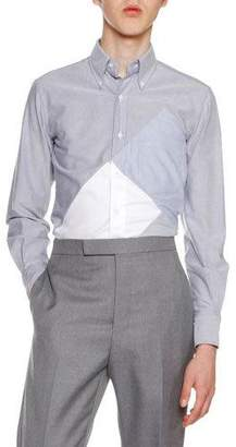 Thom Browne Pieced-Square Cotton Oxford Shirt, Navy