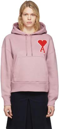 Ami Alexandre Mattiussi Pink Oversized Ami De Coeur Hoodie