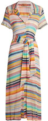 MISSONI MARE Rainbow zigzag-striped knit shirtdress