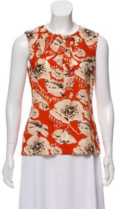 Tory Burch Silk Printed Sleeveless Up