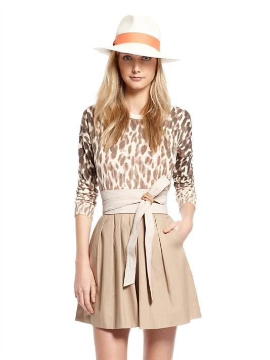 DKNY Silk Cashmere Long Sleeve Pullover With Tali Animal Print