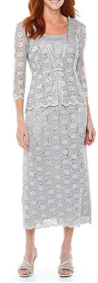 R & M Richards R&M Collection 3/4-Sleeve Sequin Lace Jacket Dress