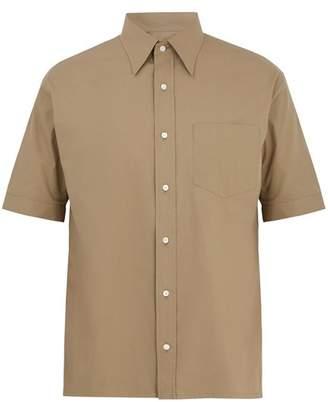 Fendi - Point Collar Short Sleeved Cotton Poplin Shirt - Mens - Beige