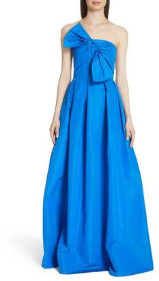 Sachin + Babi Bow Front Strapless Silk Ballgown
