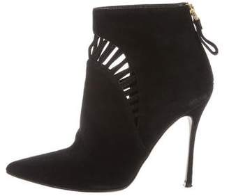 Sergio Rossi Suede Cutout Booties