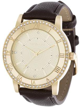 Steve Madden Steve Girl's Black Leather Watch, 43mm