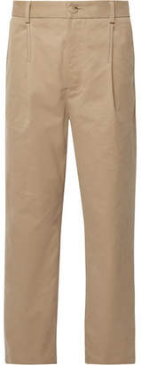 Acne Studios Pleated Brushed Cotton-twill Chinos - Sand