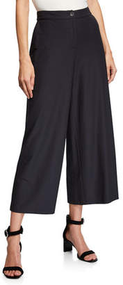 Eileen Fisher High-Waist Wide-Leg Cropped Stretch Crepe Pants, Petite