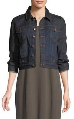 Eileen Fisher Cropped Organic Cotton Stretch Denim Jacket