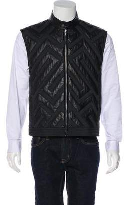 Versace Leather-Trimmed Patterned Vest