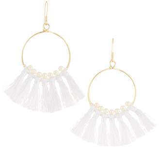 Lydell NYC Pearly Tassel Hoop Earrings