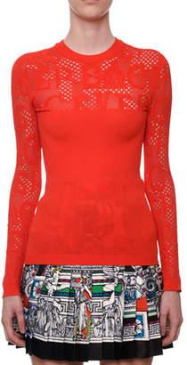 Versace Tattoo-Knit Crewneck Long-Sleeve Top