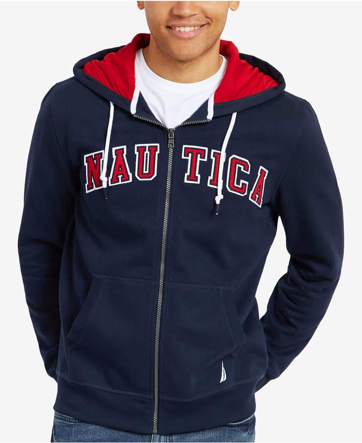 Nautica Men's Big & Tall Full-Zip Logo Hoodie, Created for Macy's