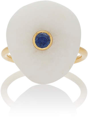 """Cvc Stones M'O Exclusive: 18K Gold"""" Beach Stone and Sapphire Sea Ring"""