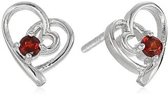 Girl's Sterling Silver and Garnet Children's Screw Back Stud Earrings