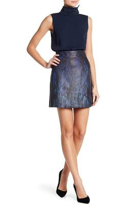 Elie Tahari Zinaida Print Lamb Leather Skirt