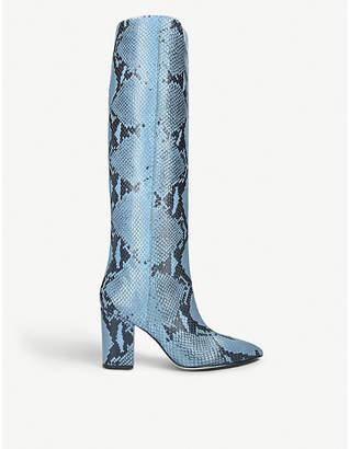 Paris Texas Block-heel snake-embossed leather heeled knee-high ankle boots