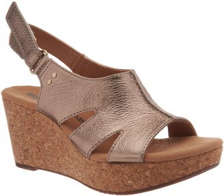 Clarks Leather Cork Wedge Adjustable Sandals - Annadel Bari