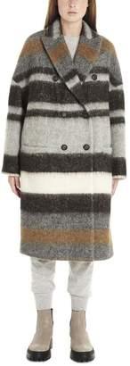 Brunello Cucinelli Striped Double-Breasted Coat