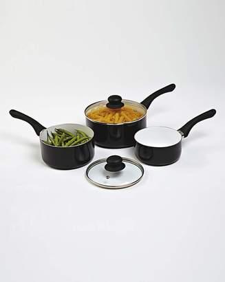 Fashion World Set Of 3 Ceramic Saucepans Black