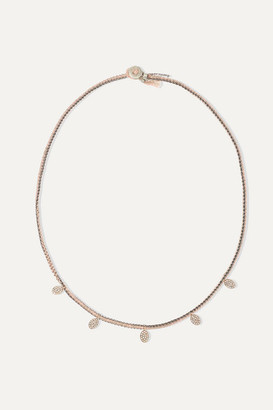 Brooke Gregson - Sterling Silver, 14-karat Rose Gold, Silk And Diamond Necklace
