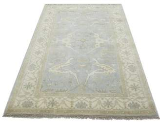 """Charlton Home One-of-a-Kind Schurman Indian Hand-Knotted 4'11"""" x 8'1"""" Wool Light Blue/Beige Area Rug Charlton Home"""