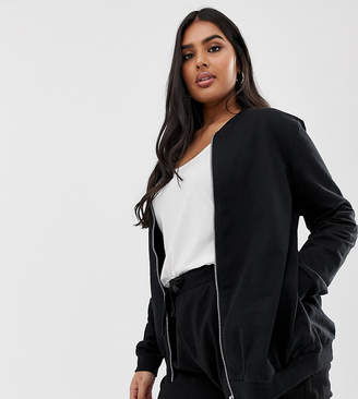 Asos DESIGN Curve ultimate bomber jacket in sweat in black