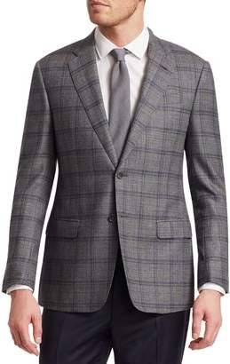 Giorgio Armani Windowpane Check Twill Wool Suit Jacket