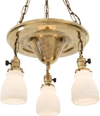Rejuvenation Three-Light Colonial Revival Shower in Aged Brass