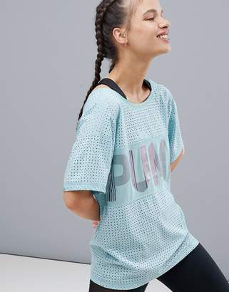 Puma Big Cat Drapey Tee In Pale Green With Iridescent Logo
