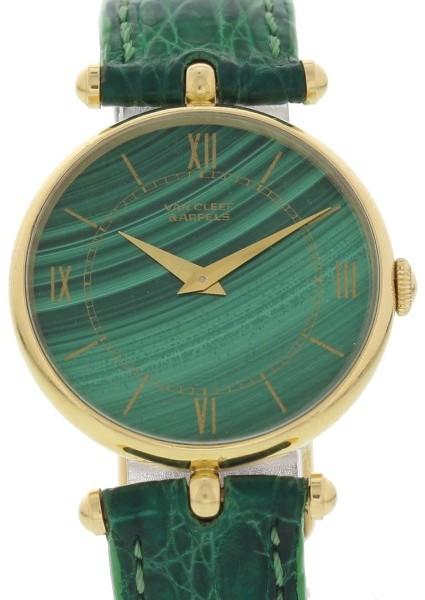 Van Cleef & ArpelsVan Cleef & Arpels 18K Yellow Gold & Green Dial 30mm Womens Watch