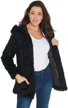 Isaac Mizrahi Live! Special Edition Faux Curly Fur Coat with Hood