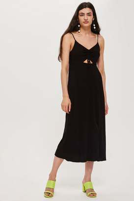 Topshop Ruch Front Midi Slip Dress