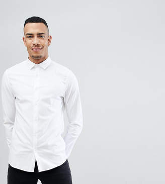 Asos Tall Smart Slim Fit Oxford Shirt With Double Cuff