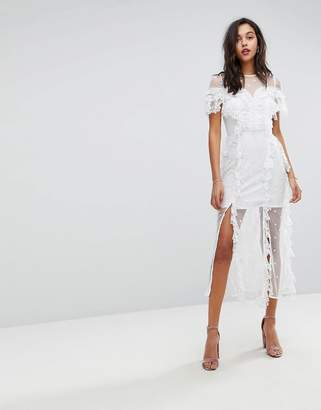 Stevie May Embroidered Floral Lace Midi Dress