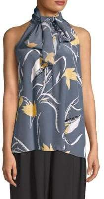Diane von Furstenberg High-Neck Printed Silk Blouse