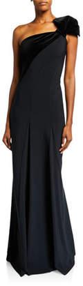 Chiara Boni One-Shoulder Long Gown w/ Velvet Detail